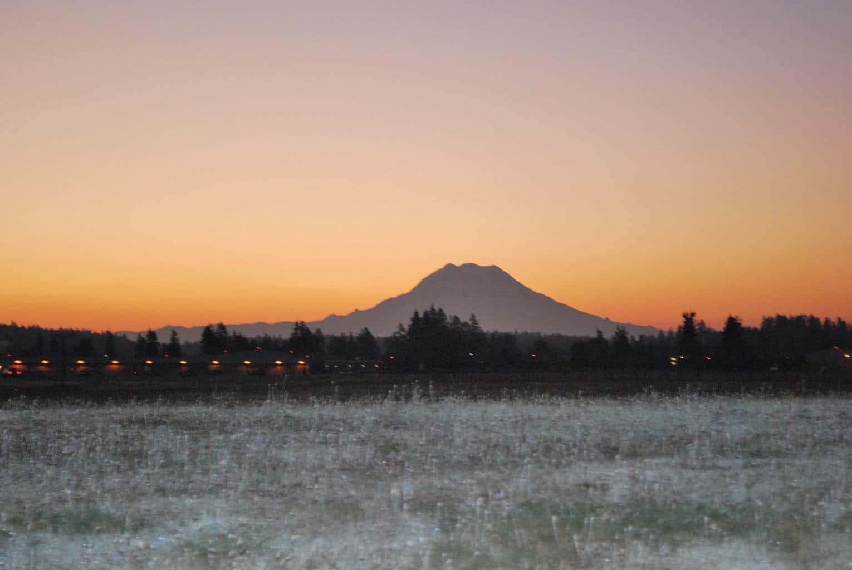 Sunrise behind Mount Rainier