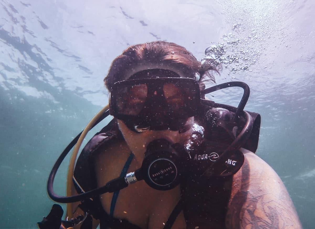 deerfield beach pier | ashley scuba diving selfie