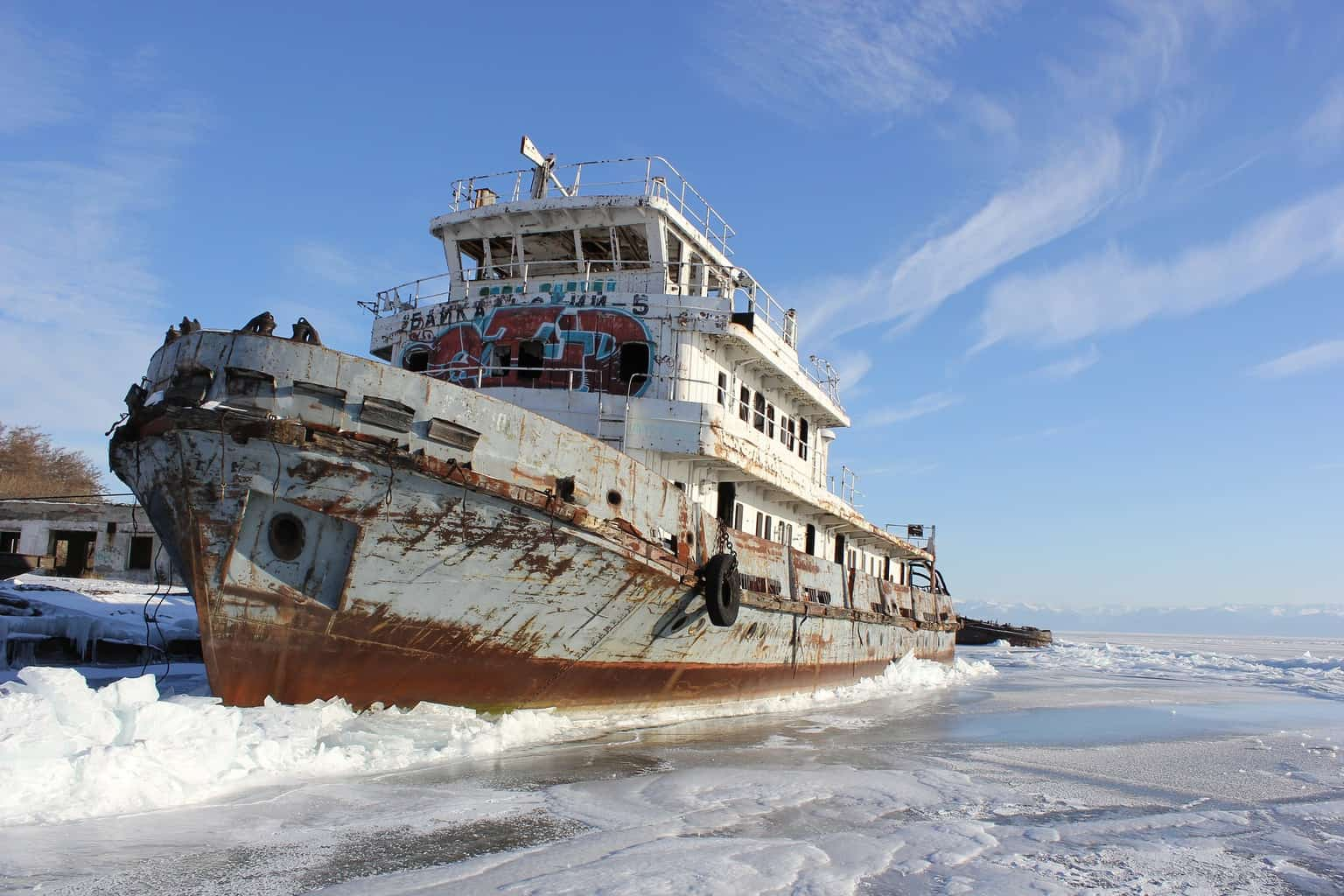 ship on frozen lake baikal